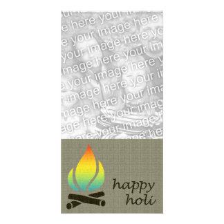holi rainbow flame customised photo card