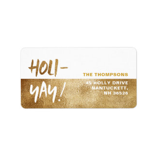 HOLI-YAY! Fun Typography Holiday Address Label