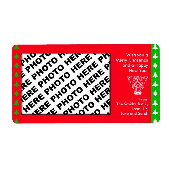 Holiday Add Family Photo Label Bell Red Shipping Label