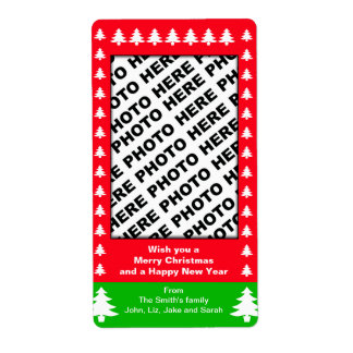 Holiday Add Family Photo Label Tree Red Shipping Label