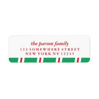 Holiday Address Label Candy Cane