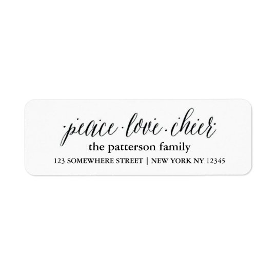 Holiday Address Label Peace Love Joy 1