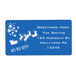 Holiday Address Labels in Blue and White
