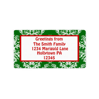 Holiday Address Labels in Green and Red