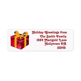 Holiday Address Labels in Red and White