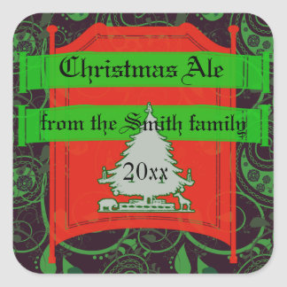 Holiday Ale, Beer and Brew Labels Square Sticker