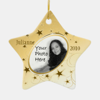 Holiday All Star Photo/ Gold Christmas Ornament
