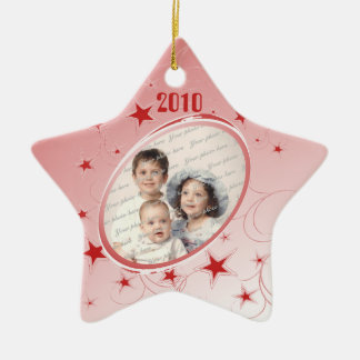 Holiday All Star Photo/ Red Double-Sided Star Ceramic Christmas Ornament