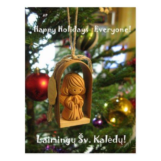 Holiday Angel Lithuanian Postcard