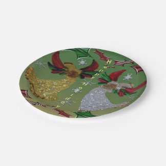 Holiday Angels Holly 7 Inch Paper Plate