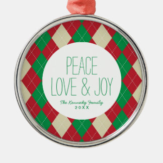 Holiday Argyle Pattern Silver-Colored Round Decoration