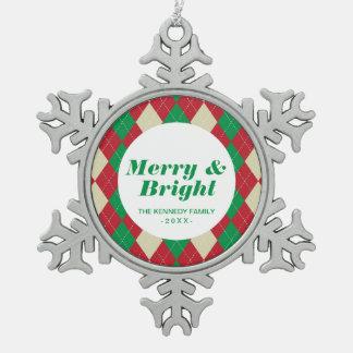 Holiday Argyle Pattern Snowflake Pewter Christmas Ornament