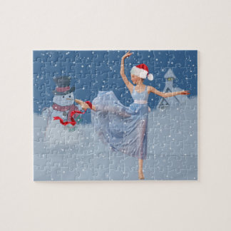 Holiday Ballet Fantasy, Ballerina and Snowman Jigsaw Puzzle
