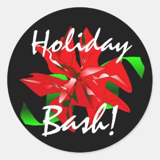 """Holiday Bash"" Sticker Round Stickers"