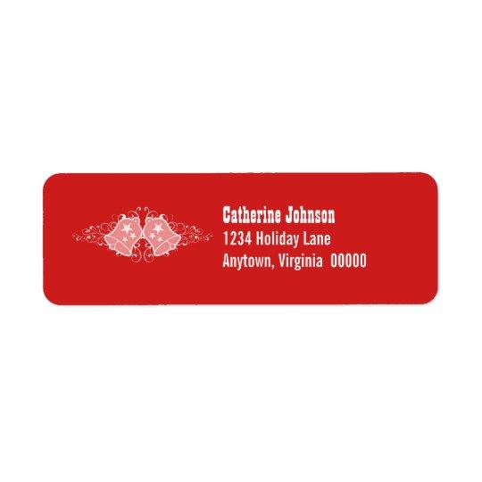 Holiday Bells and Swirls Address Labels, Red Return Address Label