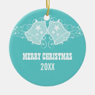 Holiday Bells and Swirls Ornament, Aqua Round Ceramic Decoration