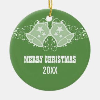 Holiday Bells and Swirls Ornament, Green Round Ceramic Decoration