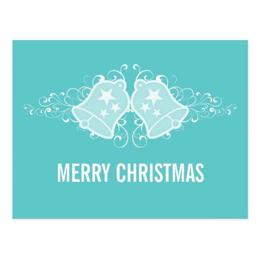Holiday Bells and Swirls Postcard, Aqua