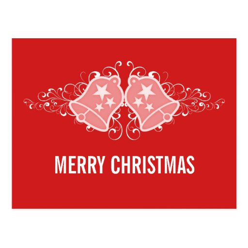 Holiday Bells and Swirls Postcard, Red