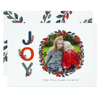 Holiday Berries Modern Joy Holiday Photo Card