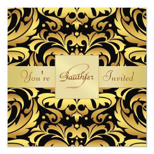 Holiday Black Tie Damask Gold Foil Invitation