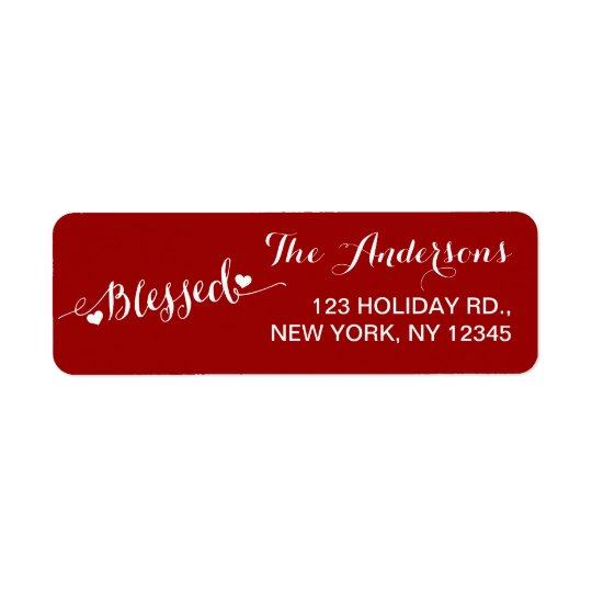 Holiday Blessings Red White | Return Address Label