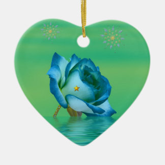Holiday Blue Rose Christmas Ornament