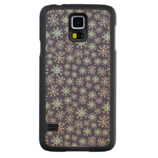 Holiday Blue Snowflakes Pattern Carved Maple Galaxy S5 Case