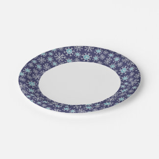 Holiday Blue Snowflakes Pattern Paper Plate