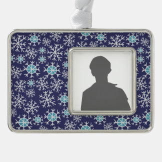 Holiday Blue Snowflakes Pattern Silver Plated Framed Ornament