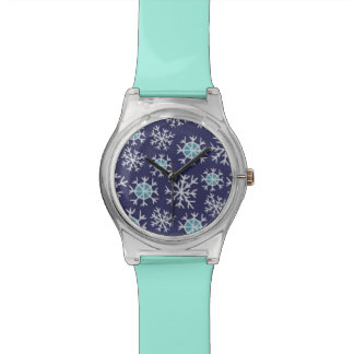 Holiday Blue Snowflakes Pattern Wristwatch