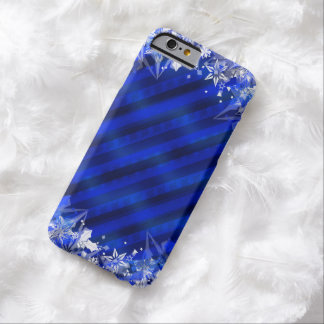 Holiday Blue Wrapping & Snowflakes Barely There iPhone 6 Case