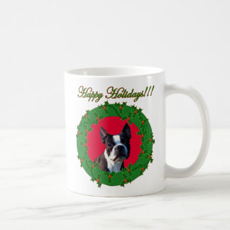 Holiday Boston terrier mug