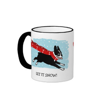 Holiday Boston Terrier Wearing Red Scarf Ringer Mug