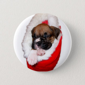 Holiday boxer puppy button