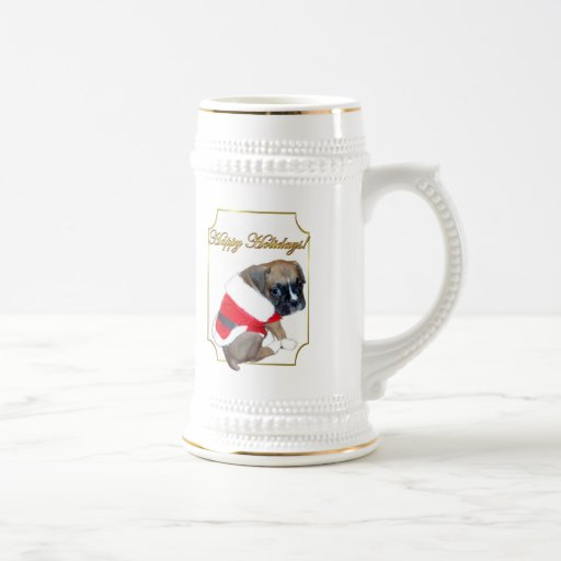 Holiday boxer puppy stein mugs