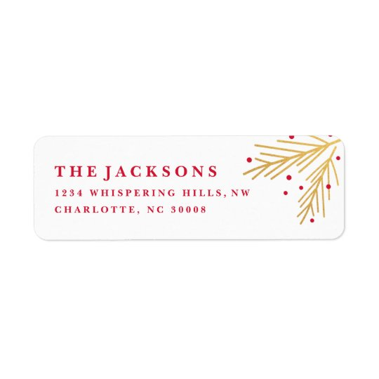 Holiday branch faux foil return address label