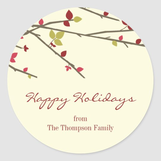 Holiday Branches Holiday Favour Stickers