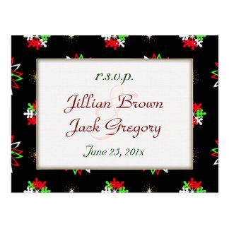 Holiday Bright Pattern Wedding RSVP Postcard