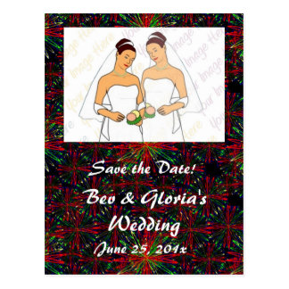 Holiday Bright Pattern WEDDING Save The Date Postcard