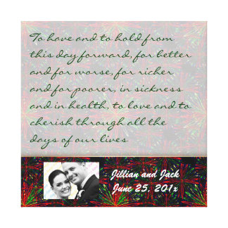 Holiday Bright Pattern WEDDING Vows Display Gallery Wrapped Canvas
