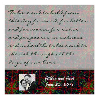 Holiday Bright Pattern WEDDING Vows Display Posters