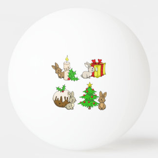 Holiday Bunnies Ping Pong Ball