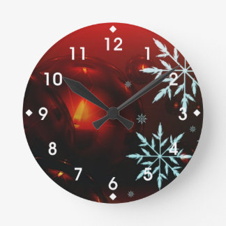 Holiday Candlelight and Snowflakes Round Clock