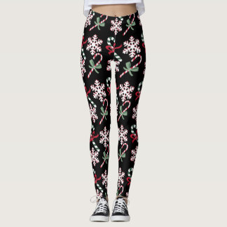 Holiday Candy Canes & Snowflakes, on black Leggings
