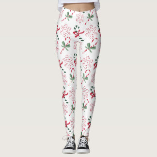 Holiday Candy Canes & Snowflakes, on white Leggings