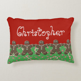 Holiday Candy Gingerbread Men Name Christopher Decorative Cushion