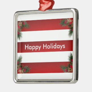 Holiday Candy Stripes Silver-Colored Square Decoration