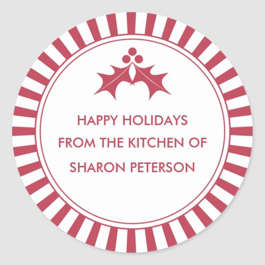 Holiday Canning Labels - Red Striped Holly