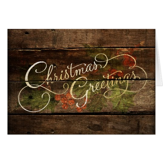 Holiday Card Christmas Greetings Rustic Wood